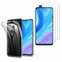 """Huawei Y9s (2019) 6.59"""": Etui Housse Pochette Accessoires Coque gel UltraSlim - TRANSPARENT + 3 Films de protection d'écran Verre Trempé"""