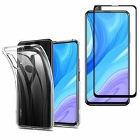 """Huawei Y9s (2019) 6.59"""": Etui Housse Pochette Accessoires Coque gel UltraSlim - TRANSPARENT + 1 Film de protection d'écran Verre Trempé - NOIR"""