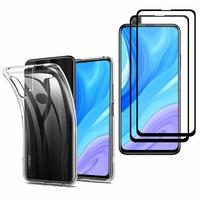 """Huawei Y9s (2019) 6.59"""": Etui Housse Pochette Accessoires Coque gel UltraSlim - TRANSPARENT + 2 Films de protection d'écran Verre Trempé - NOIR"""