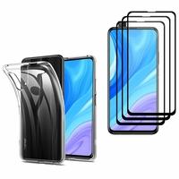 """Huawei Y9s (2019) 6.59"""": Etui Housse Pochette Accessoires Coque gel UltraSlim - TRANSPARENT + 3 Films de protection d'écran Verre Trempé - NOIR"""