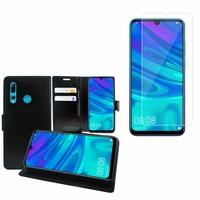 """Huawei Honor 20i 6.21"""": Etui Coque Housse Pochette Accessoires portefeuille support video cuir PU - NOIR + 1 Film de protection d'écran Verre Trempé"""