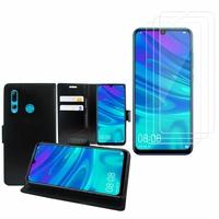"""Huawei Honor 20i 6.21"""": Etui Coque Housse Pochette Accessoires portefeuille support video cuir PU - NOIR + 3 Films de protection d'écran Verre Trempé"""