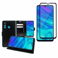 """Huawei Honor 20i 6.21"""": Etui Coque Housse Pochette Accessoires portefeuille support video cuir PU - NOIR + 1 Film de protection d'écran Verre Trempé - NOIR"""