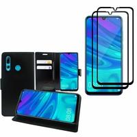 """Huawei Honor 20i 6.21"""": Etui Coque Housse Pochette Accessoires portefeuille support video cuir PU - NOIR + 2 Films de protection d'écran Verre Trempé - NOIR"""