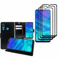 """Huawei Honor 20i 6.21"""": Etui Coque Housse Pochette Accessoires portefeuille support video cuir PU - NOIR + 3 Films de protection d'écran Verre Trempé - NOIR"""
