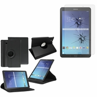 Samsung Galaxy Tab E 9.6 T560 T561: Etui Cuir PU Support Rotatif 360° - NOIR + 1 Film de protection d'écran Verre Trempé