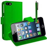 Apple iPhone 5/ 5S/ SE: Accessoire Etui portefeuille Livre Housse Coque Pochette support vidéo cuir PU + Stylet - VERT