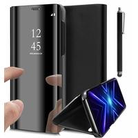 "Huawei Y9s (2019) 6.59"" STK-L21 STK-L22 STK-LX3 (non compatible Huawei Y9 (2019) 6.5""): Housse Fenêtre Support Vidéo Effet miroir  + Stylet - NOIR"