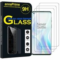 """OnePlus 8 6.55"""" (non compatible OnePlus 8 Pro 6.78"""") [Les Dimensions EXACTES du telephone: 160.2 x 72.9 x 8 mm]: Lot / Pack de 3 Films de protection d'écran Verre Trempé"""