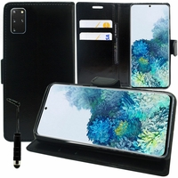 "Samsung Galaxy S20+ Plus/ S20+ 5G 6.7"" SM-G985 G985F SM-G986 (non compatible Galaxy S20 6.2""/ S20 Ultra 6.9""): Etui portefeuille Support Video cuir PU + mini Stylet - NOIR"
