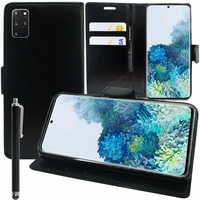 "Samsung Galaxy S20+ Plus/ S20+ 5G 6.7"" SM-G985 G985F SM-G986 (non compatible Galaxy S20 6.2""/ S20 Ultra 6.9""): Etui portefeuille Support Video cuir PU + Stylet - NOIR"