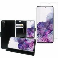 """Samsung Galaxy S20/ S20 5G 6.2"""": Etui Coque Housse Pochette Accessoires portefeuille support video cuir PU - NOIR + 1 Film de protection d'écran Verre Trempé"""