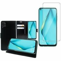 """Huawei P40 Lite/ Nova 6 SE 6.4"""": Etui Coque Housse Pochette Accessoires portefeuille support video cuir PU - NOIR + 1 Film de protection d'écran Verre Trempé"""
