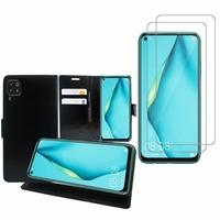 """Huawei P40 Lite/ Nova 6 SE 6.4"""": Etui Coque Housse Pochette Accessoires portefeuille support video cuir PU - NOIR + 2 Films de protection d'écran Verre Trempé"""