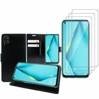 """Huawei P40 Lite/ Nova 6 SE 6.4"""": Etui Coque Housse Pochette Accessoires portefeuille support video cuir PU - NOIR + 3 Films de protection d'écran Verre Trempé"""
