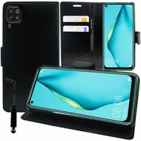 """Huawei P40 Lite/ Nova 6 SE 6.4"""" JNY-L21A L01A L21B L22A L02A L22B LX1 AL10 TL10 (non compatible Huawei P40 lite E 6.39""""): Etui portefeuille Support Video cuir PU + mini Stylet - NOIR"""