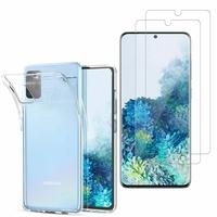 """Samsung Galaxy S20/ S20 5G 6.2"""": Etui Housse Pochette Accessoires Coque gel UltraSlim - TRANSPARENT + 2 Films de protection d'écran Verre Trempé"""