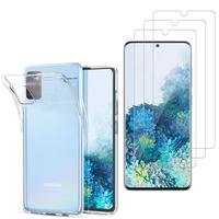 """Samsung Galaxy S20/ S20 5G 6.2"""": Etui Housse Pochette Accessoires Coque gel UltraSlim - TRANSPARENT + 3 Films de protection d'écran Verre Trempé"""