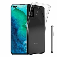 "Huawei Honor V30 Pro/ Honor View30 Pro 6.57"" OXF-AN10 [Les Dimensions EXACTES du telephone: 162.7 x 75.8 x 8.8 mm]: Coque Silicone gel UltraSlim et Ajustement parfait + Stylet - TRANSPARENT"