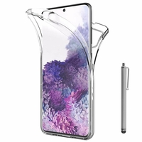 "Samsung Galaxy S20/ S20 5G 6.2"" SM-G980 G980F (non compatible Galaxy S20+ Plus 6.7""/ S20 Ultra 6.9""): Coque Avant et Arrière Silicone 360° protection intégrale  + Stylet - TRANSPARENT"