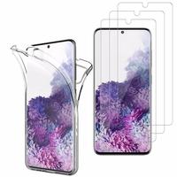 """Samsung Galaxy S20/ S20 5G 6.2"""": Coque Housse Silicone Gel TRANSPARENTE ultra mince 360° protection intégrale Avant et Arrière - TRANSPARENT + 3 Films de protection d'écran Verre Trempé"""