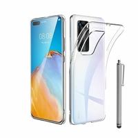 """Huawei P40 Pro 6.58"""" ELS-NX9 ELS-N04 ELS-AN00 ELS-TN00 (non compatible Huawei P40 6.1""""): Coque Silicone gel UltraSlim et Ajustement parfait + Stylet - TRANSPARENT"""