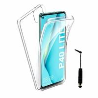 """Huawei Nova 7i/ P40 Lite 6.4"""" JNY-L22B L21A L01A L21B L22A L02A LX2 (non compatible Huawei Nova 7/ Nova 7 SE/ Nova 7 Pro): Coque Avant et Arrière Silicone 360° protection intégrale  + mini Stylet - TRANSPARENT"""