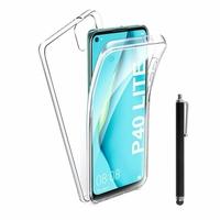 """Huawei Nova 7i/ P40 Lite 6.4"""" JNY-L22B L21A L01A L21B L22A L02A LX2 (non compatible Huawei Nova 7/ Nova 7 SE/ Nova 7 Pro): Coque Avant et Arrière Silicone 360° protection intégrale  + Stylet - TRANSPARENT"""