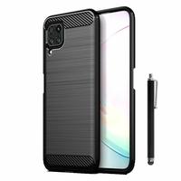 "Huawei Nova 7i/ P40 Lite 6.4"" JNY-L22B L21A L01A L21B L22A L02A LX2 (non compatible Huawei Nova 7/ Nova 7 SE/ Nova 7 Pro): Coque Silicone TPU Fibre de Carbone Brossé + Stylet - NOIR"
