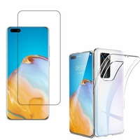 """Huawei P40 Pro 6.58"""": Etui Housse Pochette Accessoires Coque gel UltraSlim - TRANSPARENT + 1 Film de protection d'écran Verre Trempé"""