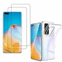 """Huawei P40 Pro 6.58"""": Etui Housse Pochette Accessoires Coque gel UltraSlim - TRANSPARENT + 2 Films de protection d'écran Verre Trempé"""