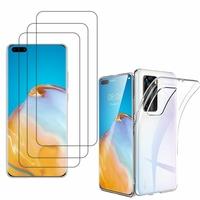 """Huawei P40 Pro 6.58"""": Etui Housse Pochette Accessoires Coque gel UltraSlim - TRANSPARENT + 3 Films de protection d'écran Verre Trempé"""