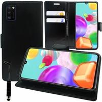 "Samsung Galaxy A41 6.1"" SM-A415F A415F/DSN A415F/DSM [Les Dimensions EXACTES du telephone: 149.9 x 69.8 x 7.9 mm]: Etui portefeuille Support Video cuir PU + mini Stylet - NOIR"