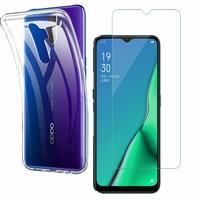 """Oppo A11 6.5"""": Etui Housse Pochette Accessoires Coque gel UltraSlim - TRANSPARENT + 1 Film de protection d'écran Verre Trempé"""