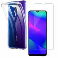 """Oppo A5 (2020) 6.5"""": Etui Housse Pochette Accessoires Coque gel UltraSlim - TRANSPARENT + 1 Film de protection d'écran Verre Trempé"""