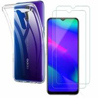 """Oppo A5 (2020) 6.5"""": Etui Housse Pochette Accessoires Coque gel UltraSlim - TRANSPARENT + 2 Films de protection d'écran Verre Trempé"""