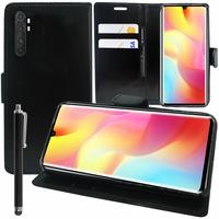 """Xiaomi Mi Note 10 Lite 6.47"""" M2002F4LG M1910F4G (non compatible Xiaomi Mi 10 Lite 5G 6.57"""") [Les Dimensions EXACTES du telephone: 157.8 x 74.2 x 9.7 mm]: Etui portefeuille Support Video cuir PU + Stylet - NOIR"""