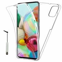"""Samsung Galaxy A71 6.7"""" SM-A715F A715F/DS A715F/DSN A715F/DSM [Les Dimensions EXACTES du telephone: 163.6 x 76 x 7.7 mm]: Coque Avant et Arrière Silicone 360° protection intégrale  + mini Stylet - TRANSPARENT"""
