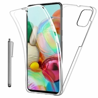 """Samsung Galaxy A71 6.7"""" SM-A715F A715F/DS A715F/DSN A715F/DSM [Les Dimensions EXACTES du telephone: 163.6 x 76 x 7.7 mm]: Coque Avant et Arrière Silicone 360° protection intégrale  + Stylet - TRANSPARENT"""