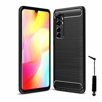 "Xiaomi Mi Note 10 Lite 6.47"" M2002F4LG M1910F4G (non compatible Xiaomi Mi 10 Lite 5G 6.57"") [Les Dimensions EXACTES du telephone: 157.8 x 74.2 x 9.7 mm]: Coque Silicone TPU Fibre de Carbone Brossé + mini Stylet - NOIR"
