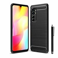 "Xiaomi Mi Note 10 Lite 6.47"" M2002F4LG M1910F4G (non compatible Xiaomi Mi 10 Lite 5G 6.57"") [Les Dimensions EXACTES du telephone: 157.8 x 74.2 x 9.7 mm]: Coque Silicone TPU Fibre de Carbone Brossé + Stylet - NOIR"