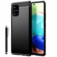 """Samsung Galaxy A71 6.7"""" SM-A715F A715F/DS A715F/DSN A715F/DSM [Les Dimensions EXACTES du telephone: 163.6 x 76 x 7.7 mm]: Coque Silicone TPU Fibre de Carbone Brossé + Stylet - NOIR"""