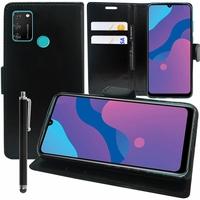 "Huawei Honor 9A/ Honor Play 9A 6.3"" MOA-LX9N MED-AL20 MOA-AL20 MOA-AL00 MOA-TL00 (non compatible Honor 9 5.15""): Etui portefeuille Support Video cuir PU + Stylet - NOIR"