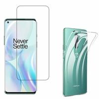 """OnePlus 8 6.55"""": Etui Housse Pochette Accessoires Coque gel UltraSlim - TRANSPARENT + 1 Film de protection d'écran Verre Trempé"""