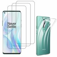 """OnePlus 8 6.55"""": Etui Housse Pochette Accessoires Coque gel UltraSlim - TRANSPARENT + 3 Films de protection d'écran Verre Trempé"""