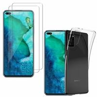 """Huawei Honor V30/ Honor View30 6.57"""": Etui Housse Pochette Accessoires Coque gel UltraSlim - TRANSPARENT + 2 Films de protection d'écran Verre Trempé"""