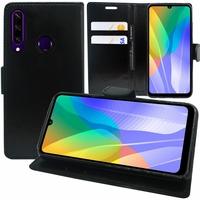 "Huawei Y6p 6.3"" MED-LX9 MED-LX9N ART-L29 [Les Dimensions EXACTES du telephone: 159.1 x 74.1 x 9 mm]: Etui portefeuille Support Video cuir PU - NOIR"