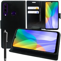 "Huawei Y6p 6.3"" MED-LX9 MED-LX9N ART-L29 [Les Dimensions EXACTES du telephone: 159.1 x 74.1 x 9 mm]: Etui portefeuille Support Video cuir PU + mini Stylet - NOIR"