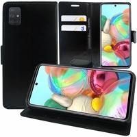 "Samsung Galaxy A71 6.7"" SM-A715F A715F/DS A715F/DSN A715F/DSM [Les Dimensions EXACTES du telephone: 163.6 x 76 x 7.7 mm]: Etui portefeuille Support Video cuir PU - NOIR"