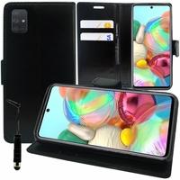 "Samsung Galaxy A71 6.7"" SM-A715F A715F/DS A715F/DSN A715F/DSM [Les Dimensions EXACTES du telephone: 163.6 x 76 x 7.7 mm]: Etui portefeuille Support Video cuir PU + mini Stylet - NOIR"